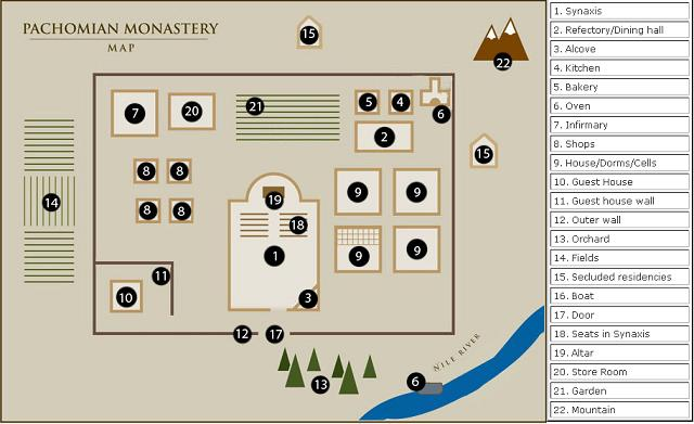 pachomian monastery map
